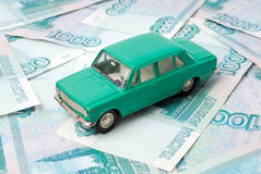 The old car and money Stock Photos