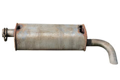 Old car muffler. Front and corrosion damage. Stock Photos