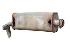 Old car muffler. Front and corrosion damage. Royalty Free Stock Images