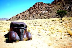 Old car in Namibia. Old car in the area of Aus in Namibia Stock Photography