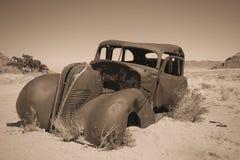 Old car in Namibian desert stock photos