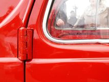 Close-up of the door of a vintage Italian car stock photos