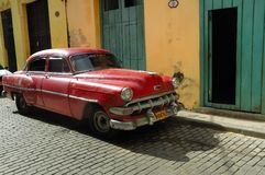 Old car parked in Havana street. Cuba Stock Photo