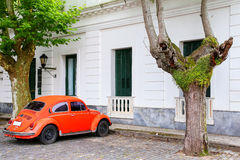 Old car parked in historic quarter of Colonia del Sacramento, Ur Royalty Free Stock Photos