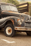 Old car in the parking lot. As a design element exterior Royalty Free Stock Photos
