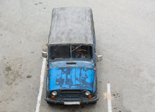 Old Car On the Parking. Top View. Royalty Free Stock Images