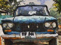 Old car. A photo painting of old car taxi Stock Image