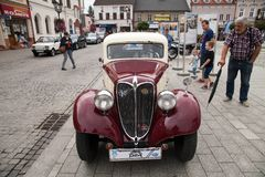 Old car Praga, front view, retro design car. Royalty Free Stock Photography