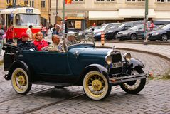The old car in Prague Stock Photo
