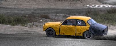 Old Car Racing. Racing with old trasched cars Royalty Free Stock Images