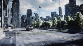 An old car rides in a ruined city. Apocalypse concept. 3d rendering. royalty free illustration