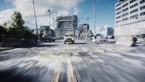 An old car rides in a ruined city. Apocalypse concept. 3d rendering. stock illustration
