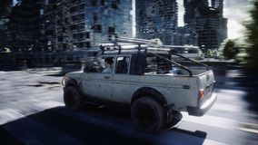 An old car rides in a ruined city. Apocalypse concept. 3d rendering. vector illustration