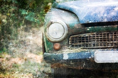 Old Car rusting in forest Stock Photo