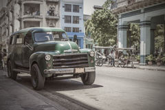 Old car 50s parked in Havana. In a street of the old town, where tourists do not go royalty free stock photos