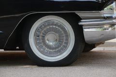 An old car`s wheel stock photo