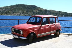 Old car by the sea. Old car by the Adriatic sea Royalty Free Stock Photo
