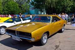 Old car show on Retrofest. Dodge Charger. July 21, 2012 - Moscow, park Sokolniki - Festival Retrofest. Retro car show Royalty Free Stock Photography