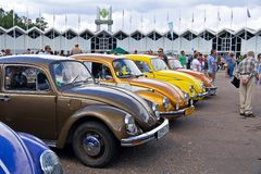 Old car show on Retrofest. Few Volkswagen Beetles Royalty Free Stock Images