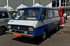Old car show on Retrofest. Minibus RAF. July 21, 2012 - Moscow, park Sokolniki - Festival Retrofest. Retro car show Stock Photos