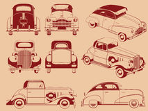 Old Car Silhouette in Several Positions. A vector set of old cars silhouettes from several position. Drawn in vintage style, this vector is very good for design Stock Images