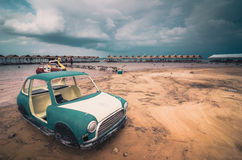 Old car and sky in the Reservoir vintage Stock Image