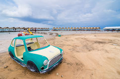 Old car and sky in the Reservoir. Water and sky in  the Reservoir embankment Sirinthorn Ubonratchatani Thailand Royalty Free Stock Image
