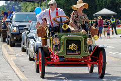 Old car in the street during Crawfish Festival Stock Photography
