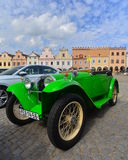 Old car on a street in Telc Stock Image