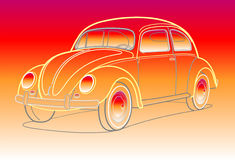 Old car in sunset colors. Old car vector in sunset colors Stock Photo