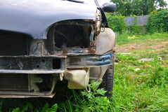 Old car with taken out front fender. Headlight and bumper for repair Royalty Free Stock Image