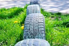 Car tires in the ground royalty free stock photos