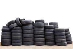 Old car tires isolated Stock Image