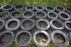Old car tires used at an obstacle course. A close-up of an obstacle course where old car tires are being used as one of the obstacles royalty free stock images