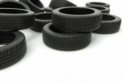 Old car tires on white background Royalty Free Stock Images