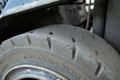 Old car tyre closeup photo Stock Photo