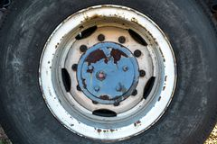 Old car tyre closeup photo Stock Image