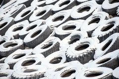 Old car tyres royalty free stock photos