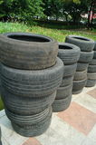 Old car tyres Stock Image