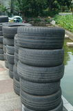 Old car tyres Stock Images