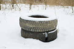 Old car tyres. Royalty Free Stock Photography