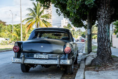 Old car on Vedado district in Havana, Cuba Royalty Free Stock Photos