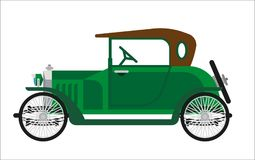 Old car or vintage retro collector green auto vehicle vector flat transport icon Stock Photography