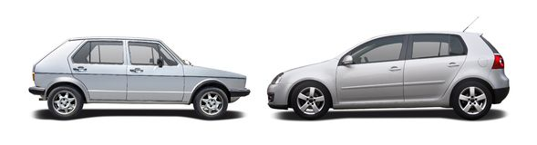 Old car vs new car Stock Image