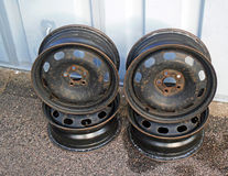 Old car wheel rims Stock Photo