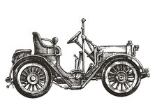 Old car on a white background. sketch Stock Photo
