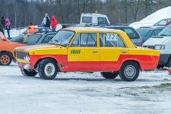 Old car at winter rally. Travel photo. City Cesis, Latvia. Old car, winter rally. This car made in USSR. 2013 Travel photo stock photography