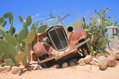 Rusty old car wreck namibia desert Royalty Free Stock Photography