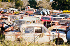Old Car Wrecking Yard Royalty Free Stock Photos