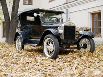 An old car in the yard which is covered with yellow maple leaves royalty free stock images